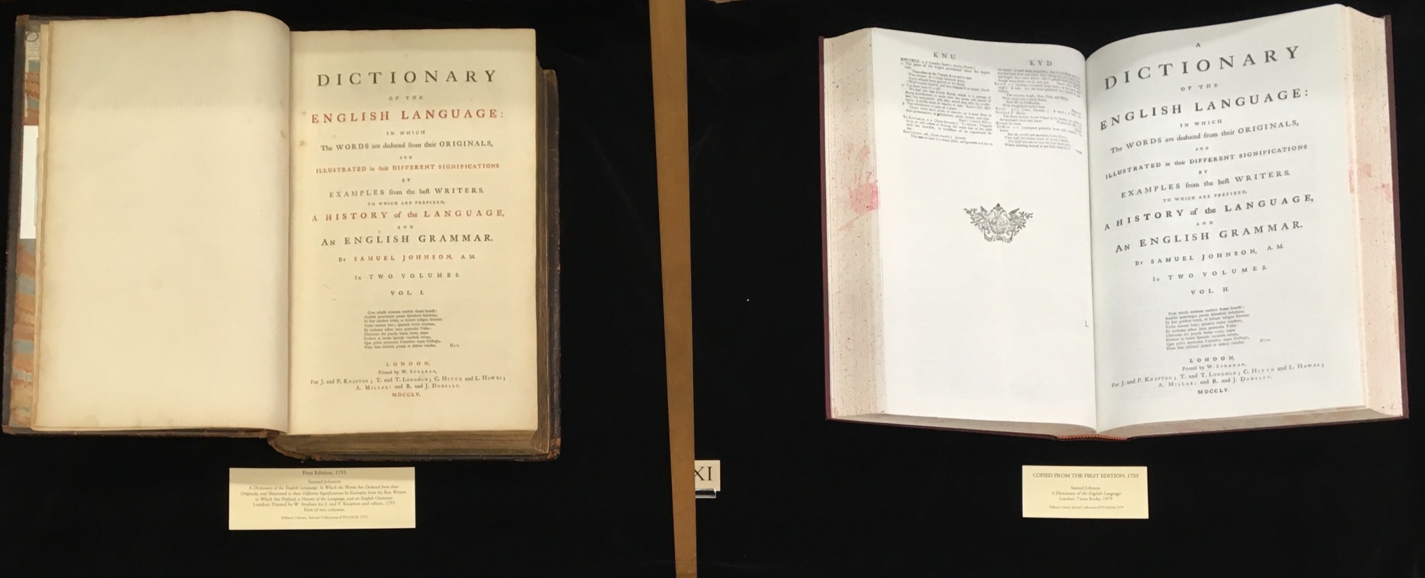 A display case showing the two dictionaries listed on this page.
