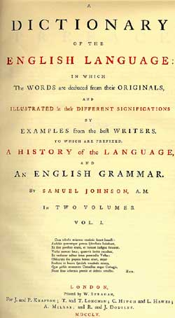 The title page from the first edition of 'A Dictionary of the English Language.'