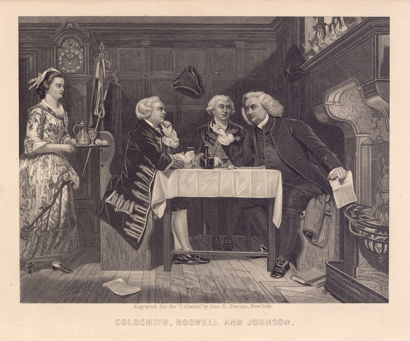 An engraving of Johnson, Boswell, and Oliver Goldsmith.