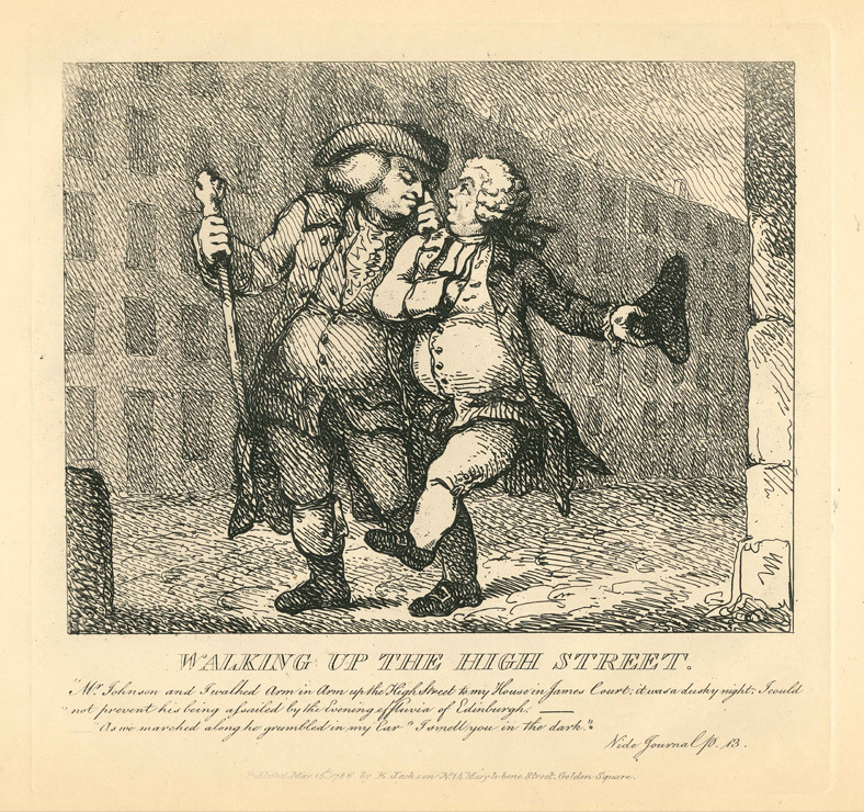 A caricature of Johnson and Boswell walking a street, with the text below.