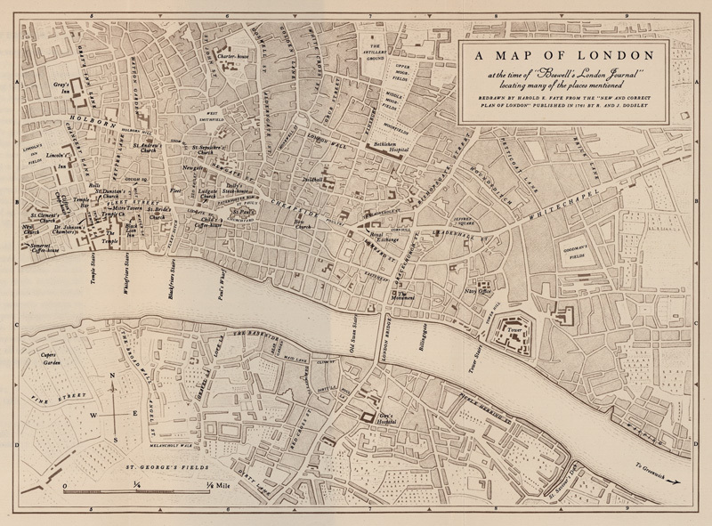 A map of London's streets in the mid 1700's, divided horizontally by the River Thames.