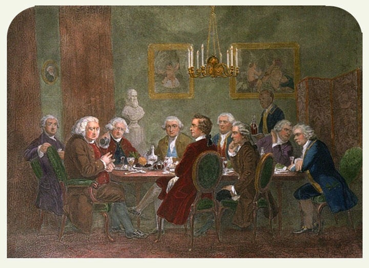 An engraving of several men around a dining table, including James Boswell and Samuel Johnson.