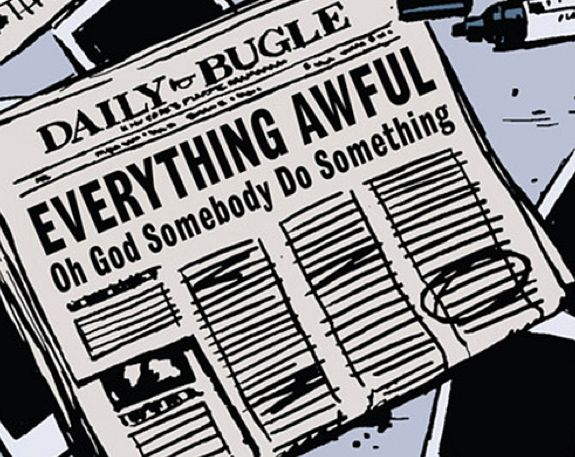 "Daily Bugle cover: ""Everything Awful: Oh God Somebody Do Something,"" from Hawkeye Vol. 1 by Matt Fraction"