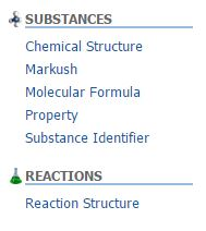 The left column options for substance and reaction searches.