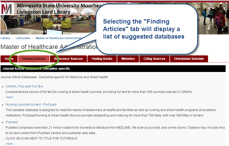 selecting the finding articles tab will display a list of suggested databases