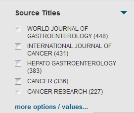Source Title results from Web of Science