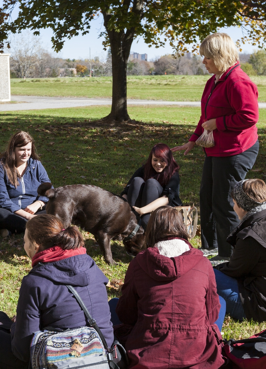 Professor Shelly Lyck stands outside with a group of her students, who are seated on the grass. A large brown dog is walking around the students, and the students are petting him.