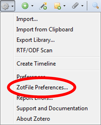 ZotFile preferences menu item