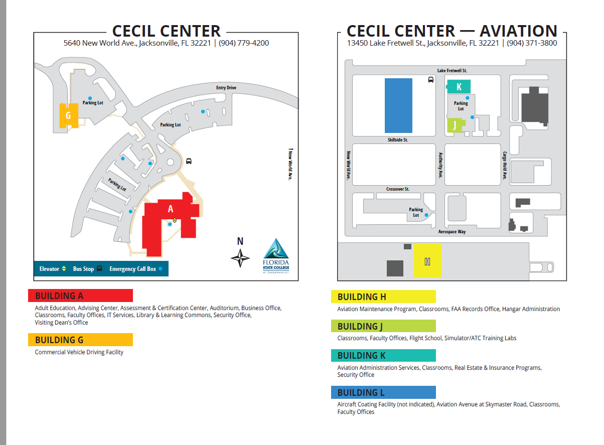Fscj North Campus Map Cecil Center Maps   Aviation Center of Excellence Program: LLC