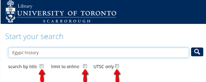 Search for Egypt history with arrows pointing to search by title, limit to online, and UTSC only.