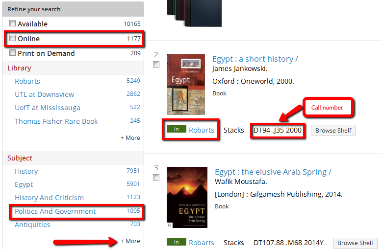 Catalogue results list with box highlighting option to see only online books, how to narrow by adding another subject, and pointing out a call number of a book.