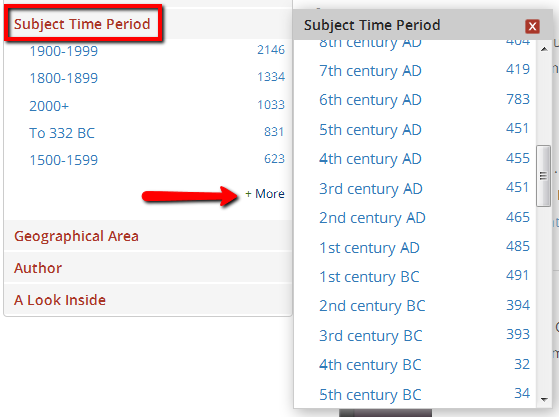 Subject time period option is highlighted with arrow pointing to option for more.