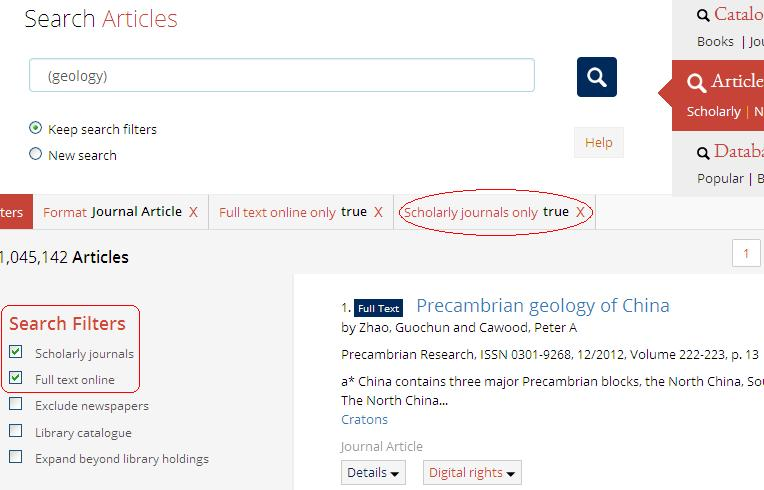 "Use the filters to select ""Scholarly Journals"" in article searches"