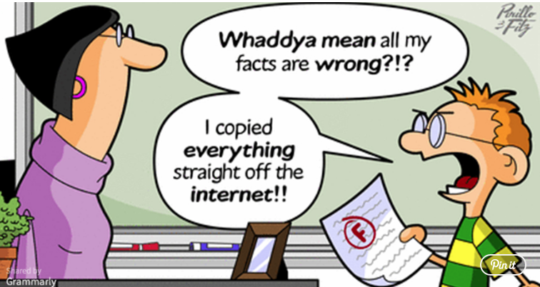 "Cartoon of boy saying ""Whaddya mean all my facts are wrong?!? I copied everything straight off the internet!!"""
