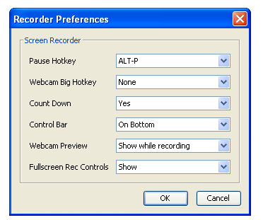 Image of Recorder Preferences menu