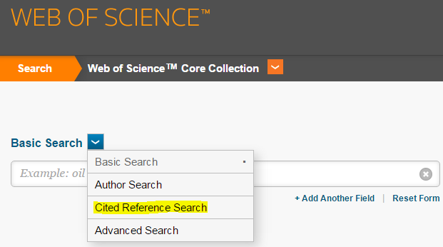 Shows the Cited Reference Search option in the drop-down menu of the Web of Science search screen.