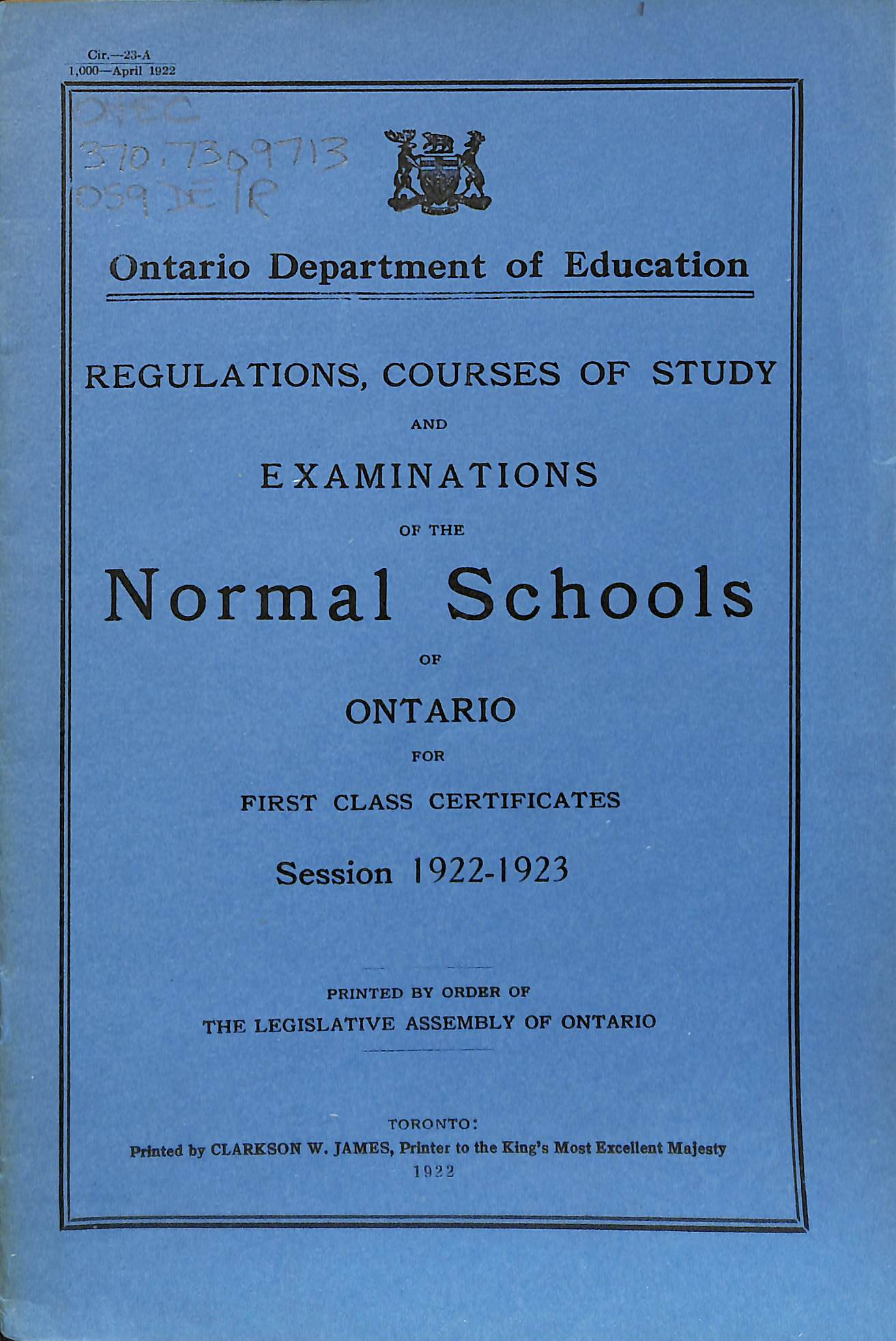 Teacher Training in tario Historical Materials OISE s tario