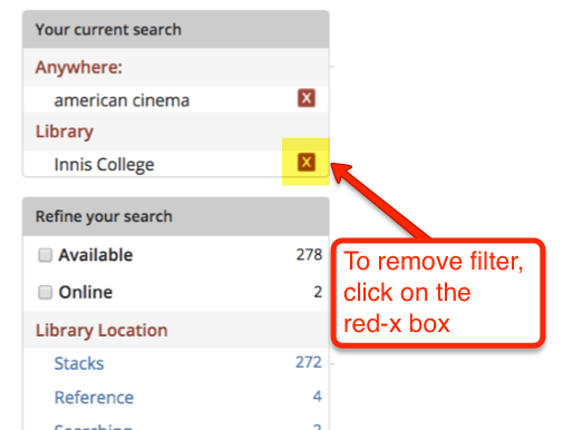 Screenshot UTL website-cancel button in Current search box