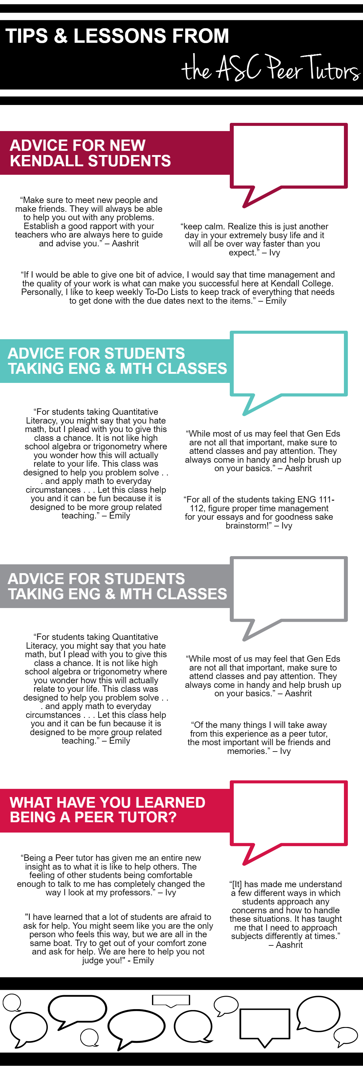 TIPS & LESSONS FROM THE ASC PEER TUTORS