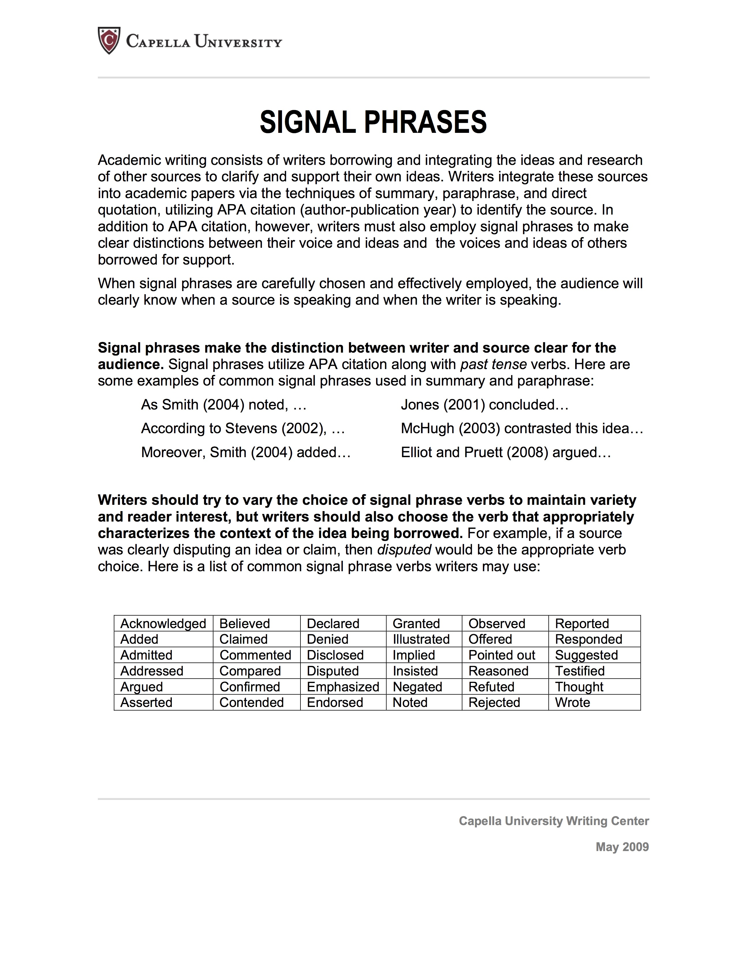 Integrating Sources Using Signal Phrases Citations