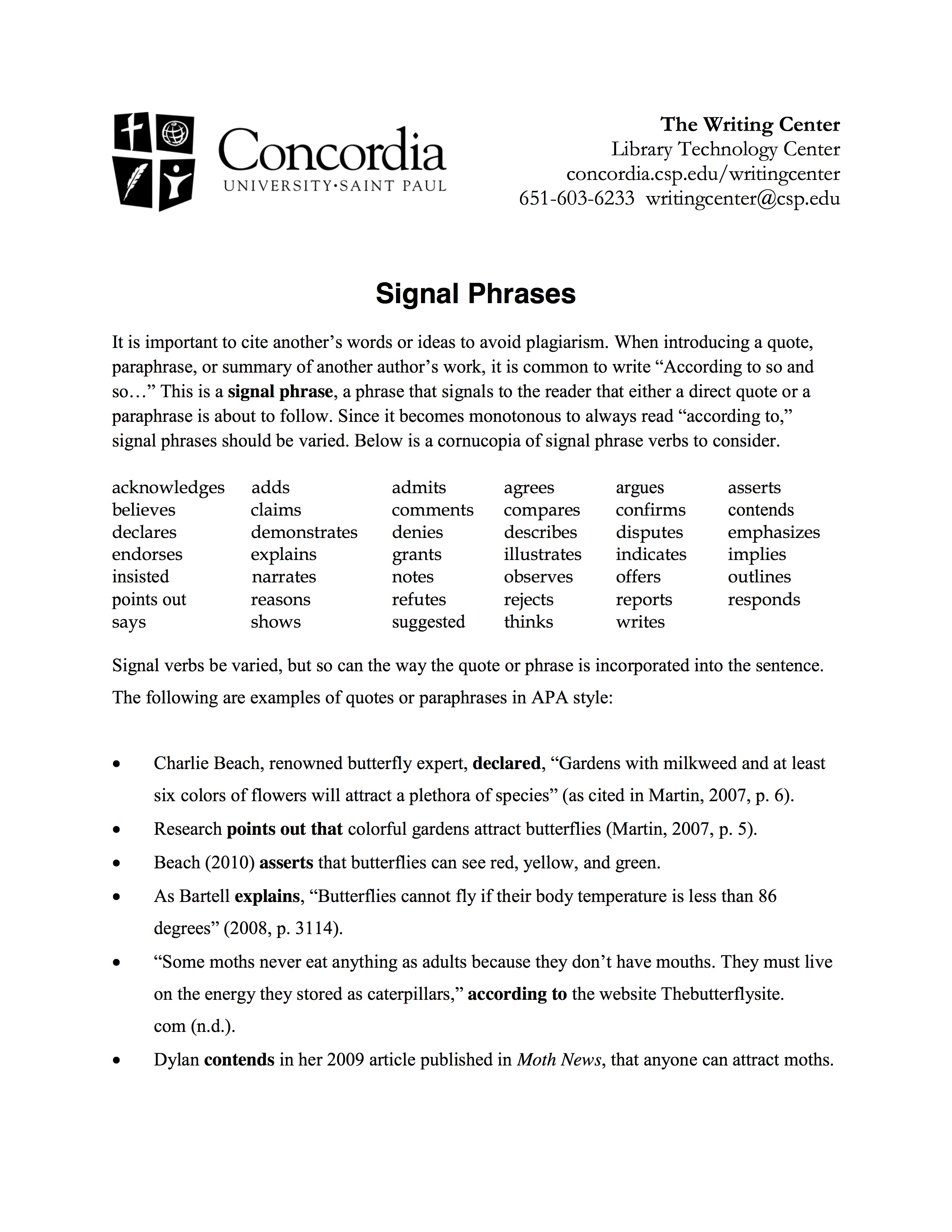 INTEGRATING SOURCES USING SIGNAL PHRASES - CITATIONS