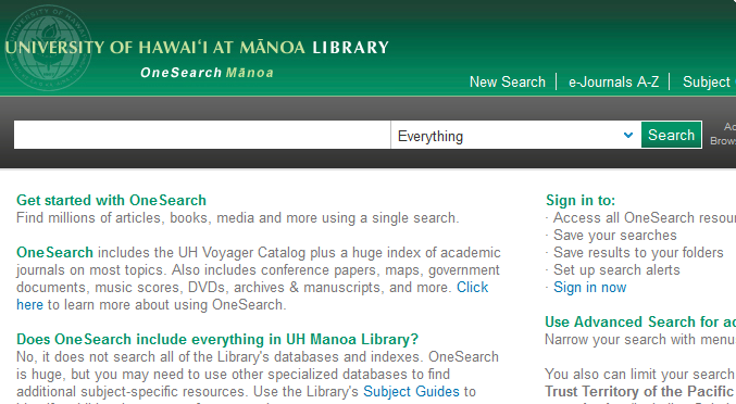 OneSearch Mānoa screenshot