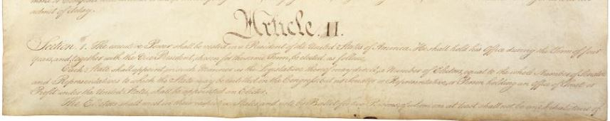 excerpt of handwritten constitution - start of Article II