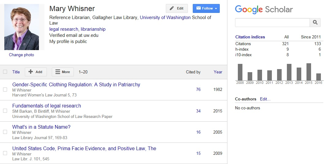 Google scholar google books tracking citations to articles screen snip google scholar profile for mary whisner ccuart Image collections