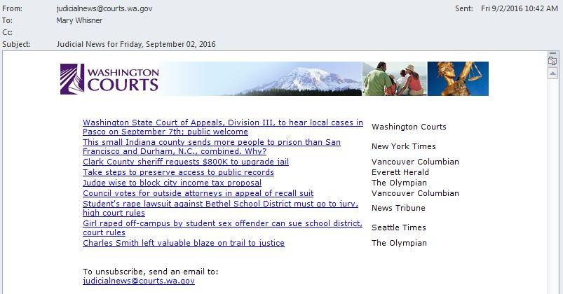 Screen snip of Judicial News email
