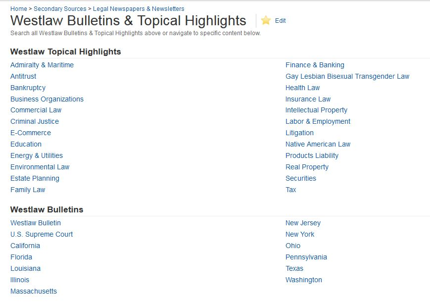 screen snip Westlaw Bulletins & Topic Highlights