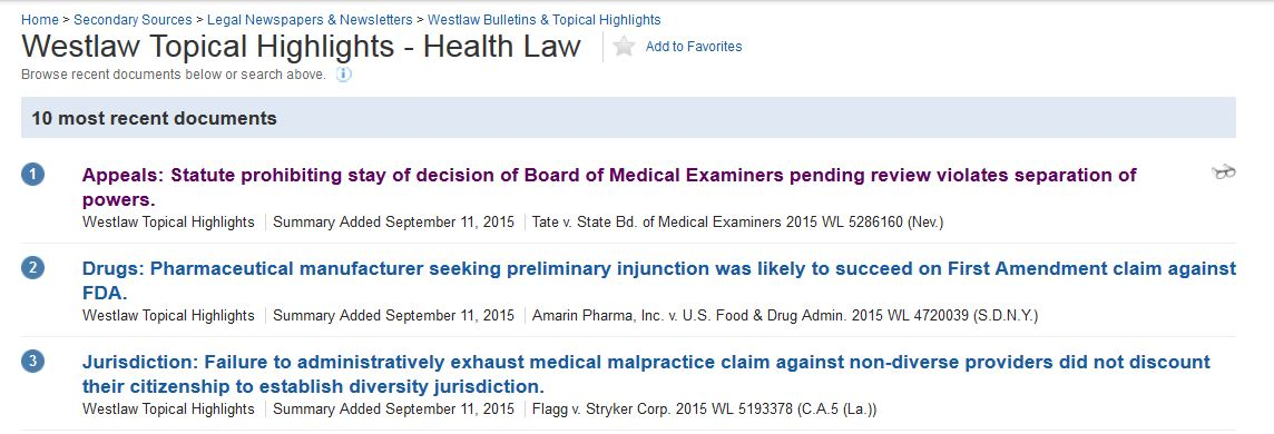 screen snip Westlaw Topical Highlights - health