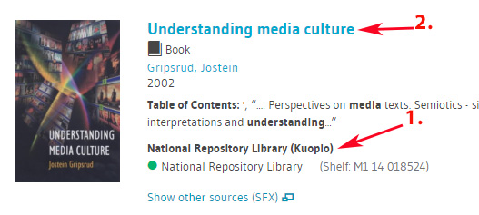 LUC-Finna search results in National Repository Library (Kuopio).