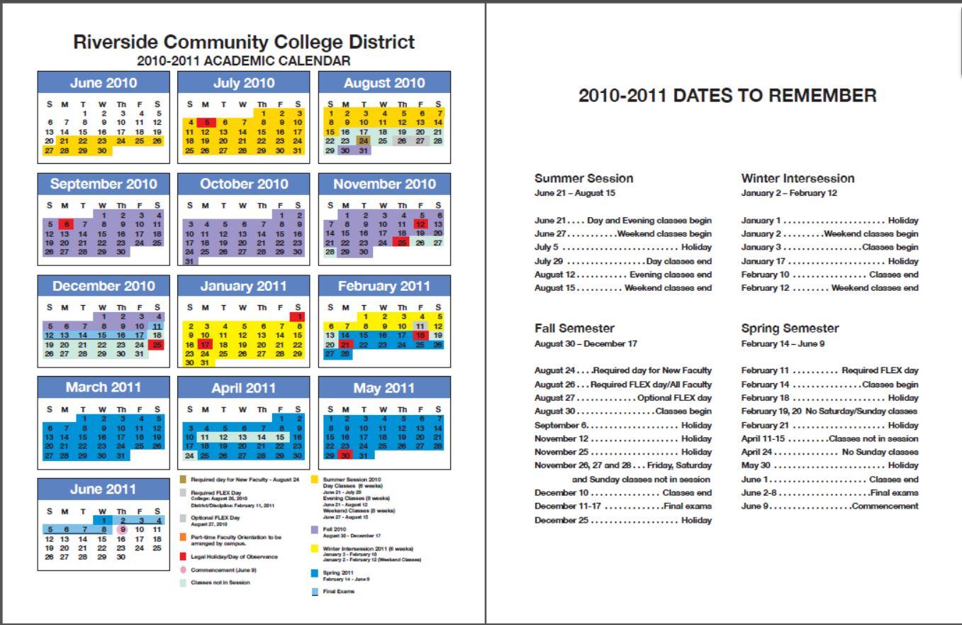 Academic Calendar | Class Schedules Fall 2006 - Spring 2016 - Moreno ...