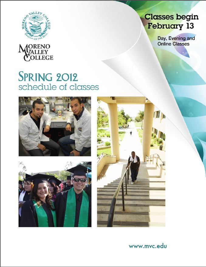Riverside Community College District Schedule of Classes Spring 2012