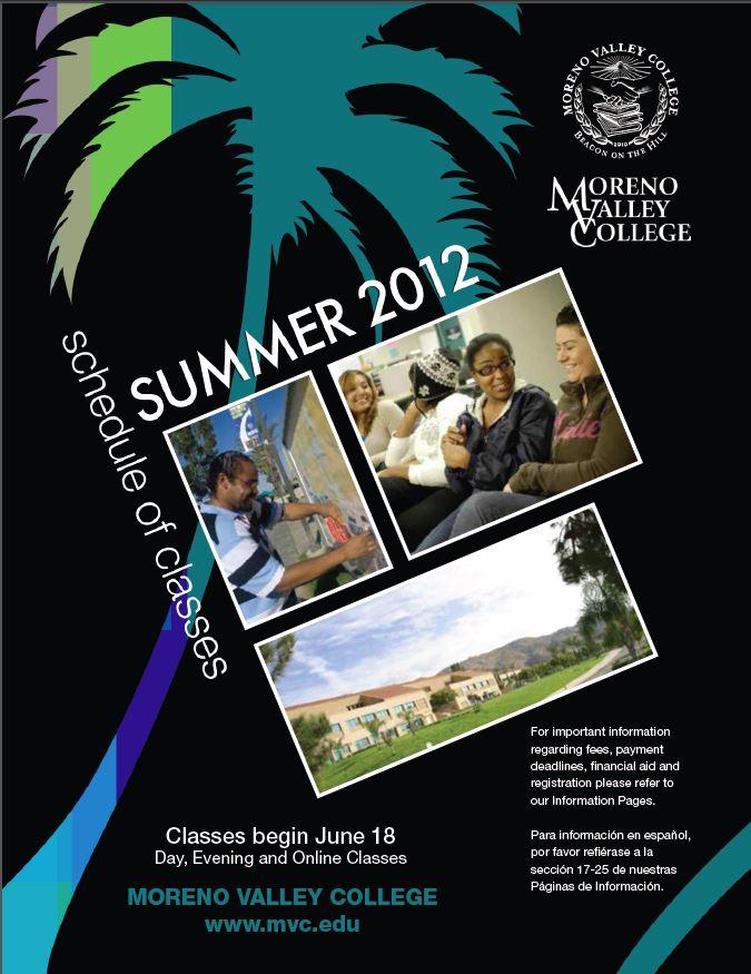 Riverside Community College District Schedule of Classes Summer 2012