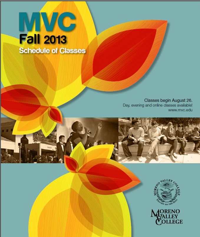 Riverside Community College District Schedule of Classes, Moreno Valley College, Fall 2013