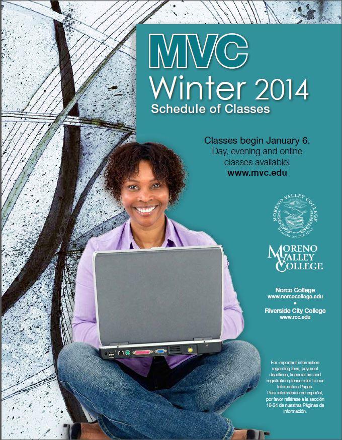 Riverside Community College District Schedule of Classes, Moreno Valley College, Winter 2014