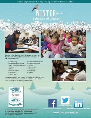 Riverside Community College District Schedule of Classes Winter 2016