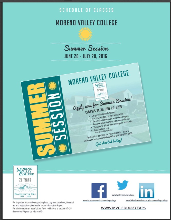 Class Schedules Summer 2016 Spring 2017 Moreno Valley College