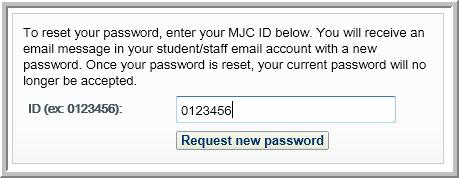 Request new password box