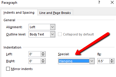 formatting hanging indent step 2