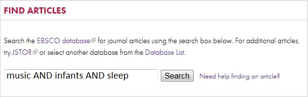 library homepage find articles search box