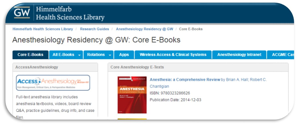 Apps - Anesthesiology Residency @ GW - Research Guides at George