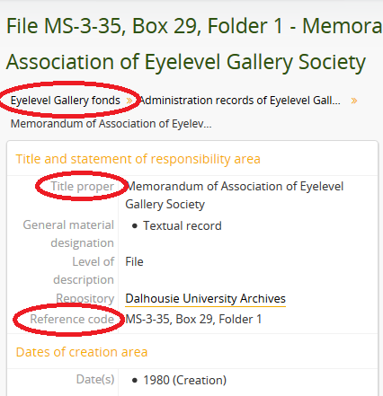 Screenshot of file-level description in the Archives Catalogue