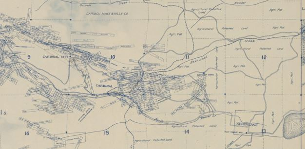 Portion of a mining map from 1916 of the Nederland area