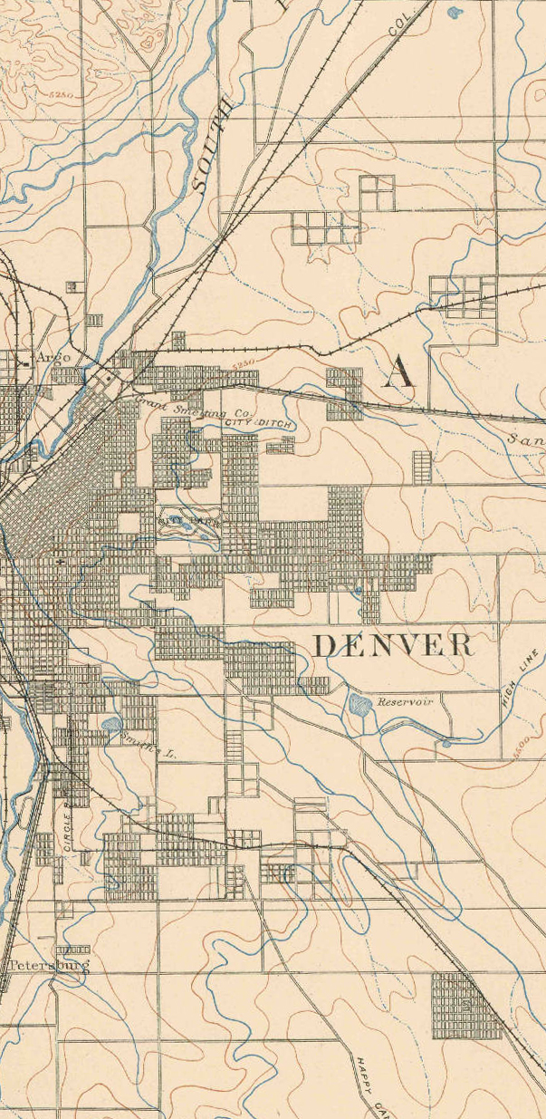 Portion of the 1890 East Denver USGS topographic map
