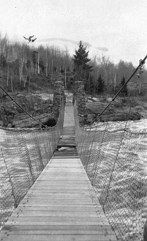 Swing bridge, Jay Cooke State Park, c. 1930