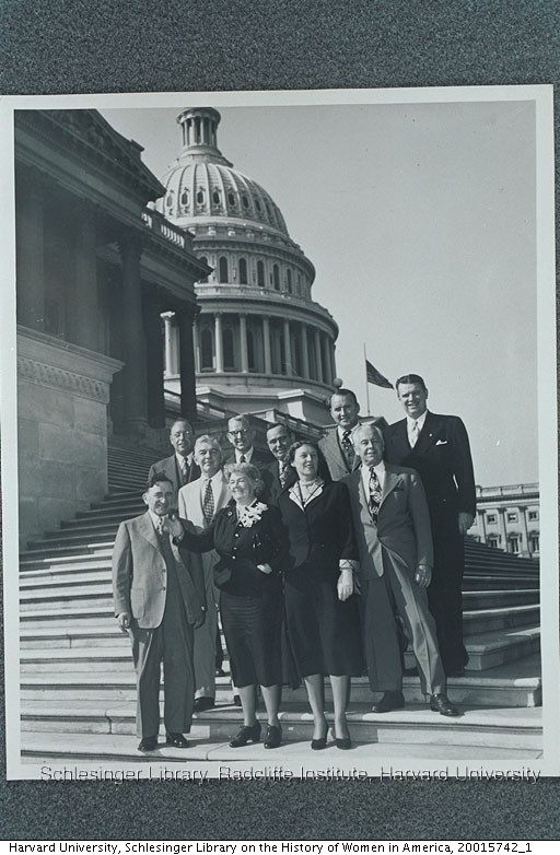 Edith Rogers standing with groups on the steps of the United States Capitol