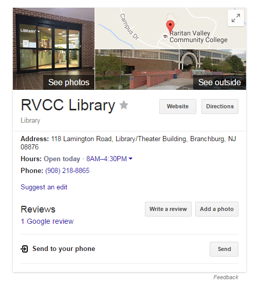 Evelyn s field library blog evelyn s field library at raritan image of the librarys google business box on google fandeluxe Image collections