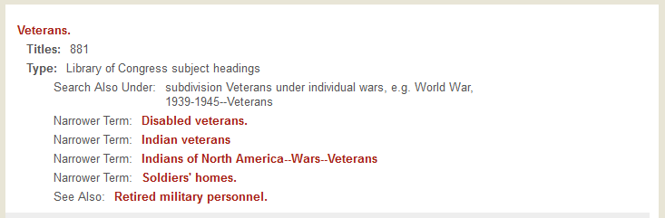 Screenshot of Veterans Subject Heading Terms
